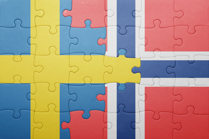 puzzle with the national flag of norway and sweden . concept