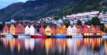 Bergen night view Cityscape reflection