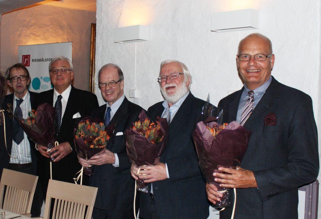 Hedersmenn, fra venstre: Truls Johannessen, Erik Gjestvang, Per A. Jakhelln, Sverre Martin Gunnerud og Jens Emil Rynning. Åsil Øverland ble også behørig takket, men var ikke tilstede.